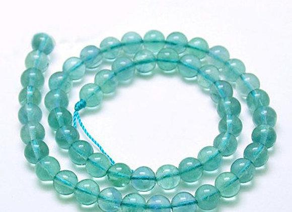Fluorite Bleue 6mm Naturelle - 61 perles par fil