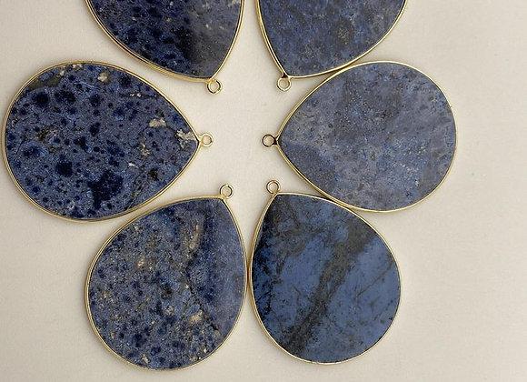Pendentif goutte de lapis lazuli 41x32x2mm naturel