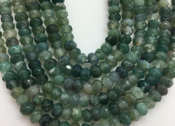 Agate mousse abacus 4.2x2.2mm facette - 140 perles par fil
