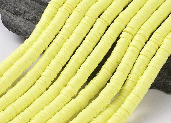 Heishi en argile 6x1mm jaune champagne - 360 perles par fil