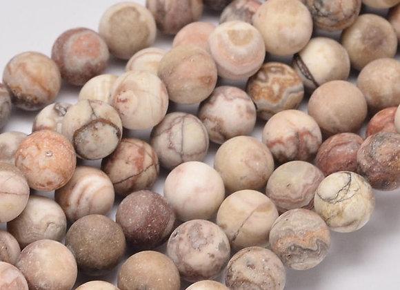 Agate Crazy Givrée 6mm Naturelle - 61 perles par fil