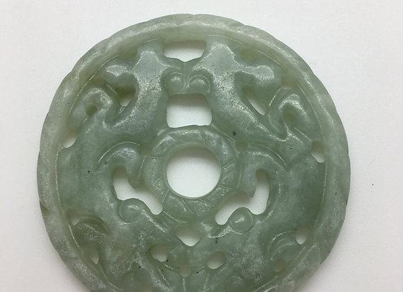 Pendentif palet pierre naturelle 52x6mm vert sculpté 84-1