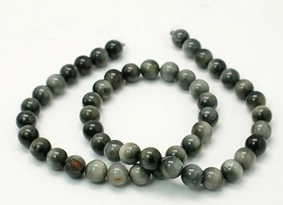 Oeil de Tigre Grise 10mm Naturel - 37 perles par fil