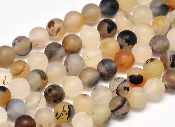 Agate Paysage Givrée 8mm Naturelle - 47 perles par fil