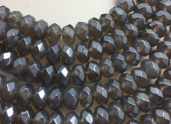 Agate électroplate abacus 8x5mm grise facette - 80 perles par fil