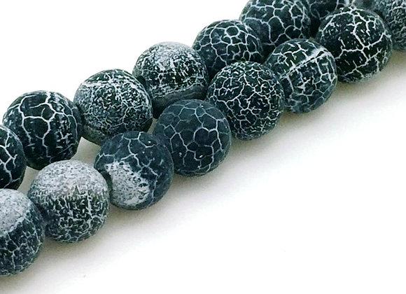 Agate Craquelée Noir 8mm - 47 perles par fil
