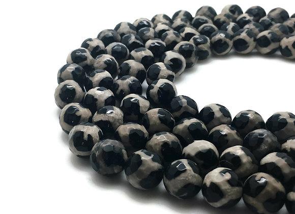 Agate Dzi à Facettes 12mm Léopardi Blanc Noir - 32 perles par fil