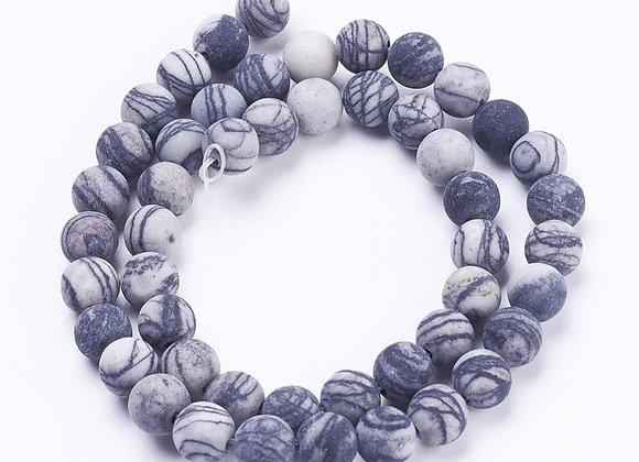 Jaspe Netstone 6mm Givrée Naturelle - 61 perles par fil