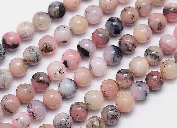 Opale 8mm rose - 47 perles par fil