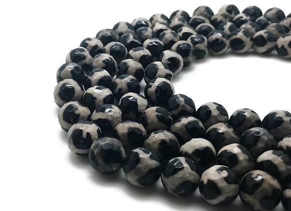 Agate Dzi à Facettes 10mm Léopardi Blanc Noir - 37 perles par fil