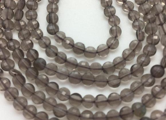 Obsidienne de glace palet 3.5x1.5mm facette - 105 perles par fil