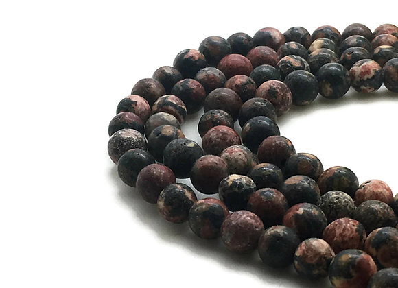 Jaspe Léopard Rouge 8mm Naturelle - 47 perles par fil