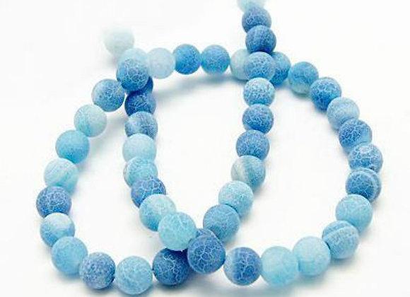 Agate Craquelée Bleu 6mm - 62 perles par fil