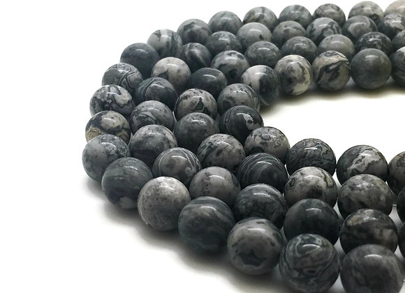 Jaspe Paysage 8mm Naturelle - 47 perles par fil