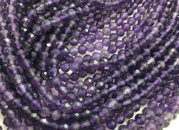 Améthyste 3mm facettes - 110 perles par fil