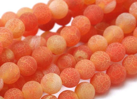Agate Craquelée Orange 6mm - 61 perles par fil