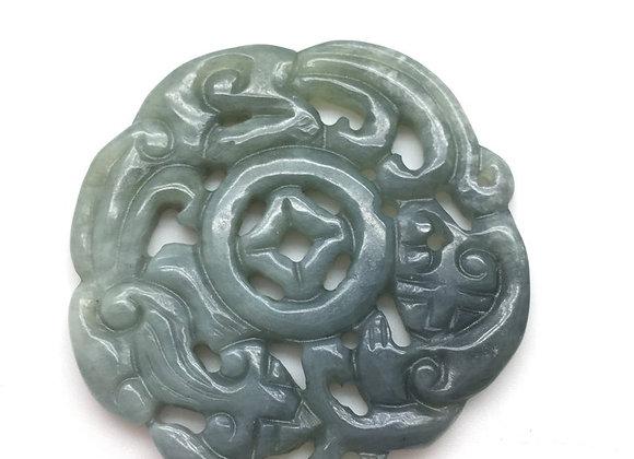 Pendentif palet pierre naturelle 55x5mm vert sculpté style chinois 51-3