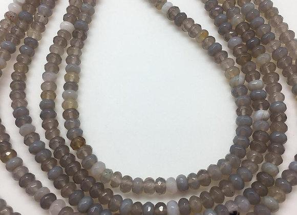 Agate grise abacus 6x4mm facette - 90 perles par fil