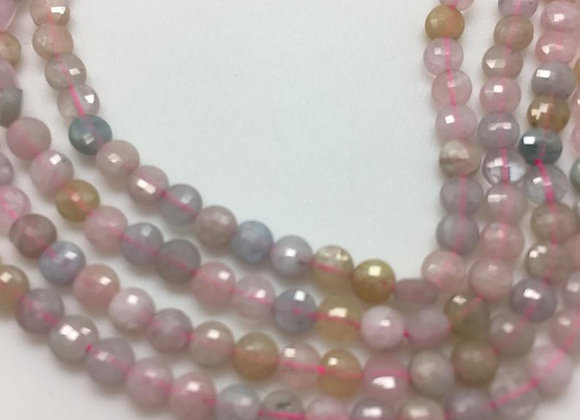 Morganite palet 4x2mm facette - 100 perles par fil