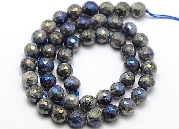 Labradorite 10mm électroplate à facettes - 37 perles par fil