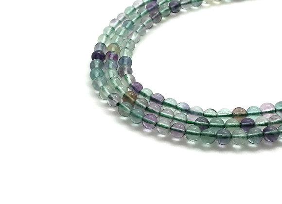 Fluorite Rainbow 4mm Naturelle - 89 perles par fil