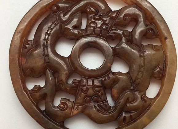 Pendentif palet pierre naturelle 56x6mm marron sculpté 84-3