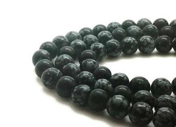 Obsidienne Flocon De Neige 12mm Naturelle - 32 perles par fil