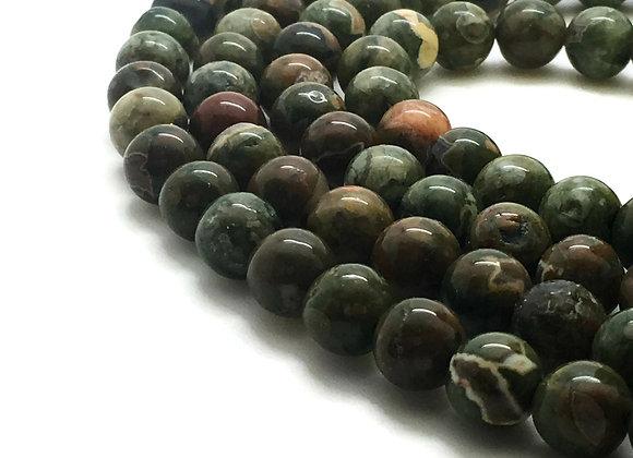 Jaspe Rhyolite 8mm Naturelle - 47 perles par fil
