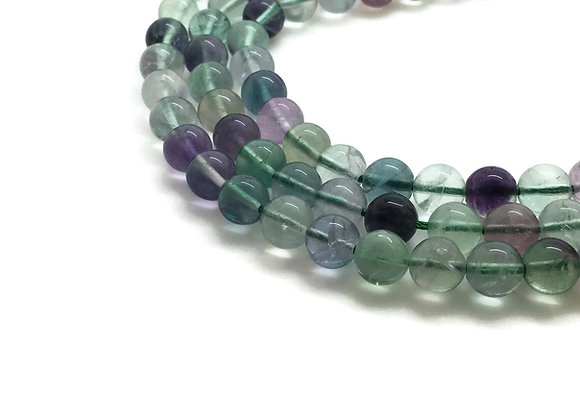 Fluorite Rainbow 6mm Naturelle - 61 perles par fil