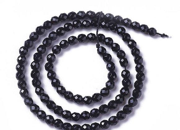 """Agate noire 2mm à facettes - fil 15.5""""-38cm"""