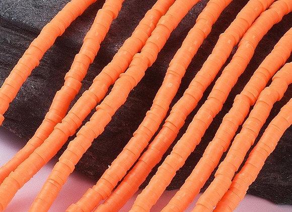 Heishi en argile 4x1mm orange rouge - 360 perles par fil