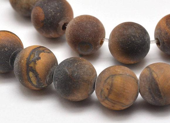 Oeil de Tigre Givré Marron 8mm Naturel - 47 perles par fil