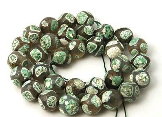 Agate Dzi à Facettes 12mm Léopardi Blanc Vert - 32 perles par fil