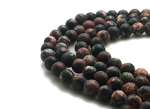 Jaspe Léopard Rouge 4mm Naturelle - 89 perles par fil