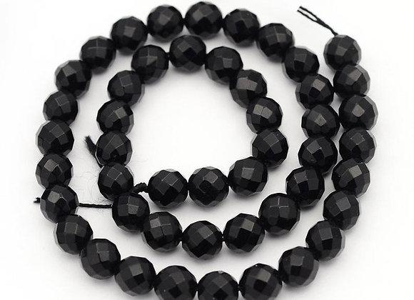 Agate noire à facettes 8mm - 47 perles par fil