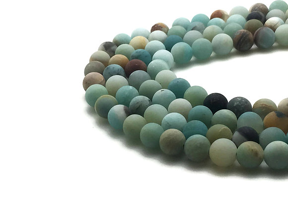 Amazonite Givrée 8mm Naturelle - 47 perles par fil