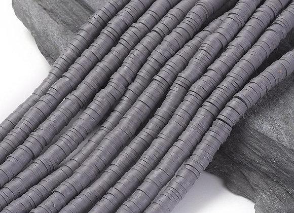 Heishi en argile 6x1mm gris ardoise - 360 perles par fil