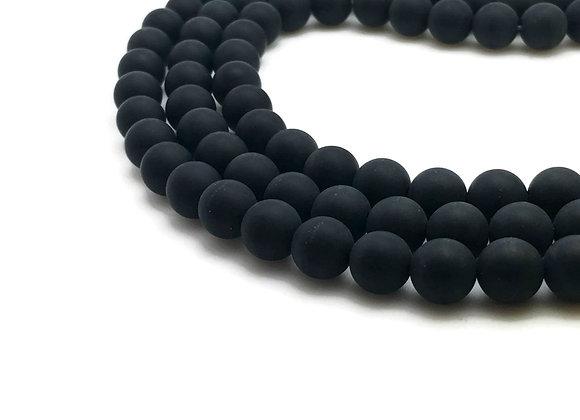 Agate Noire Givrée 12mm Naturelle - 32 perles par fil