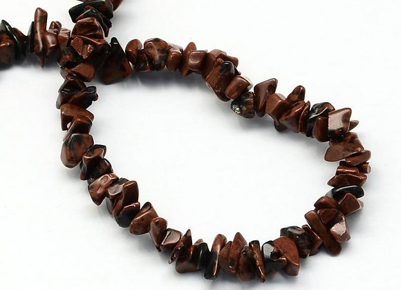 Obsidienne acajou chips / rocailles 3-9mm - 315 perles par fil