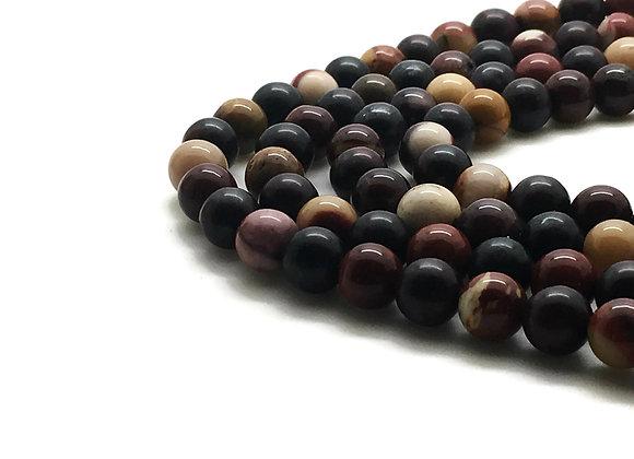 Mokaïte 6mm Naturelle - 61 perles par fil