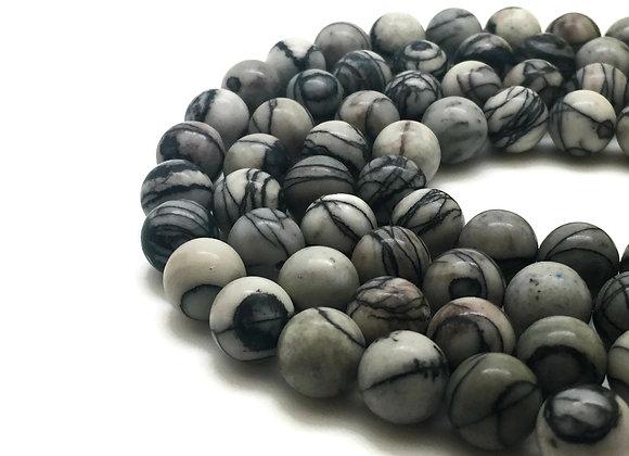Jaspe Netstone 10mm Naturelle - 37 perles par fil