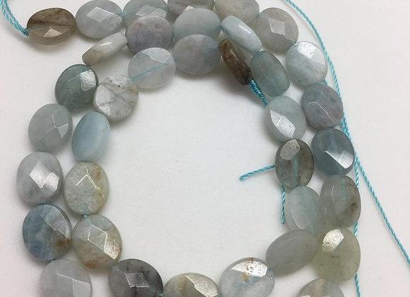 Aigue-marine palet 10x8x3mm facette - 35 perles par fil