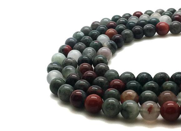 Jaspe Héliotrope Africaine 8mm Naturel - 47 perles par fil