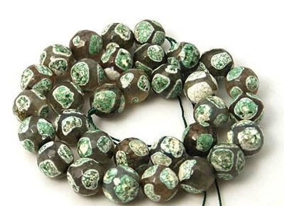 Agate Dzi à Facettes 14mm Léopardi Blanc Vert - 23 perles par fil