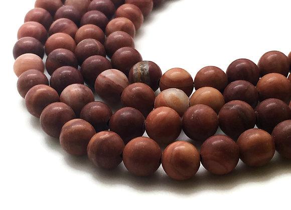 Wood Lace Stone Rouge 8mm Naturelle - 47 perles par fil