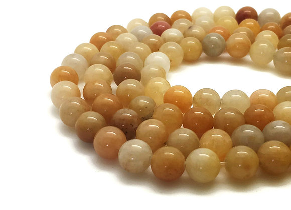 Jade Printemps 6mm Naturelle - 61 perles par fil