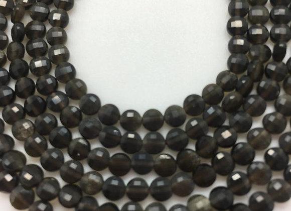 Obsidienne doré palet 4x2mm facette - 85 perles par fil