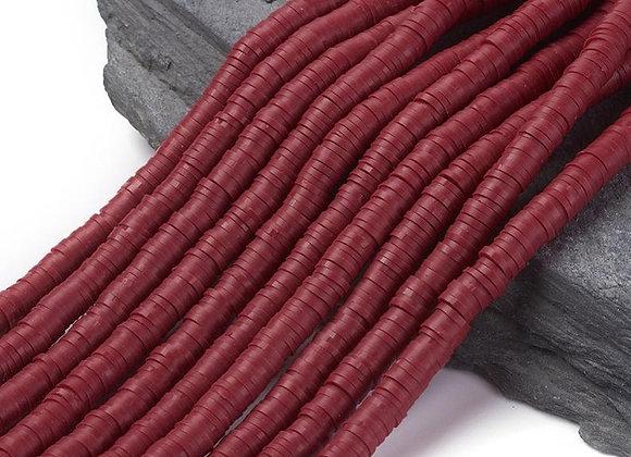 Heishi en argile 6x1mm rouge foncé - 360 perles par fil