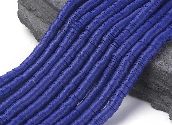 Heishi en argile 6x1mm bleu moyen - 360 perles par fil