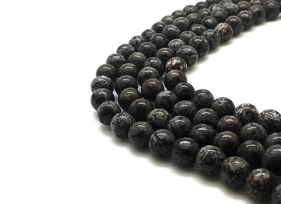 Obsidienne Flocon De Neige Marron 8mm Naturelle - 47 perles par fil